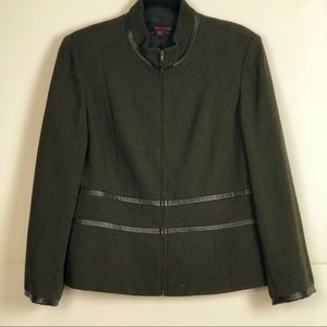 Simon Chang Olive Gr. Fitted Black Trim Jacket 14
